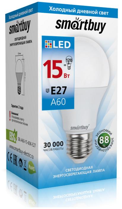 Лампочка SmartBuy SBL-A60-15-60K-E27, Холодный свет 15 Вт, Светодиодная