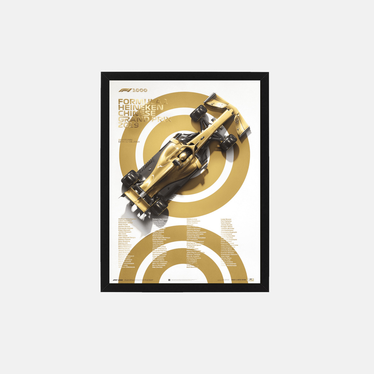 Постер Formula 1 - 1000th Grand Prix - Gold - 2019, 32 х 42 см