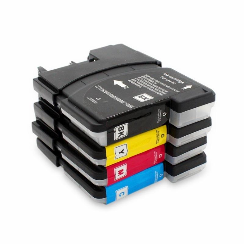 Комплект картриджей LC1100/LC980 для принтеров Brother, 4 цвета (black - черный, cyan - голубой, magenta - пурпурный, yellow - желтый), совместимый