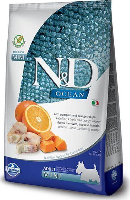 Корм сухой Farmina N&D, для взрослых собак мелких пород, океаническая треска, тыква и апельсин, 800 г #1