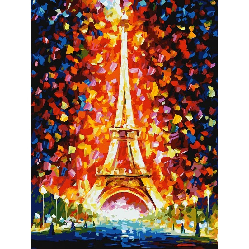 Живопись на картоне 3026-CS Париж - огни Эйфелевой башни #1