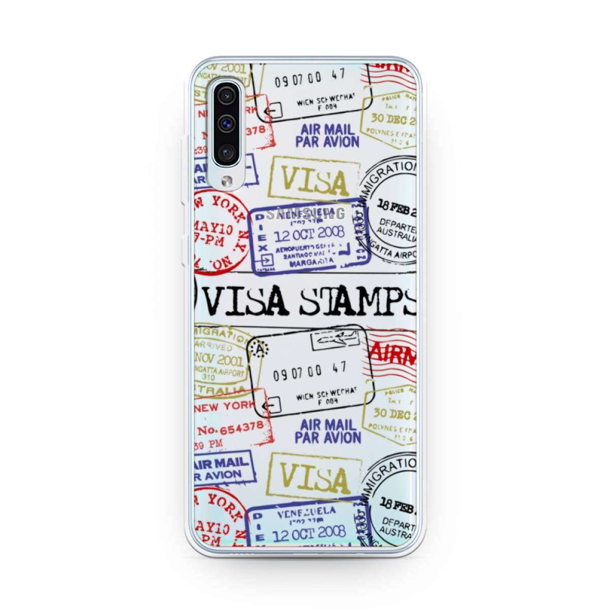 Силиконовый чехол Visa stamps 1 на Samsung Galaxy A50 #1