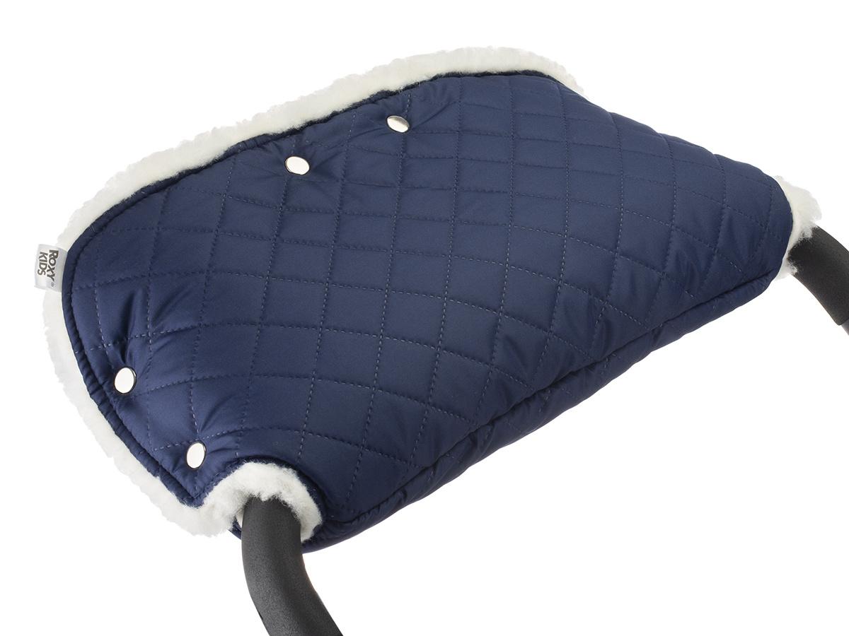 Муфта для коляски для рук на ручку коляски меховая на кнопках Melanie от ROXY-KIDS, цвет синий  #1