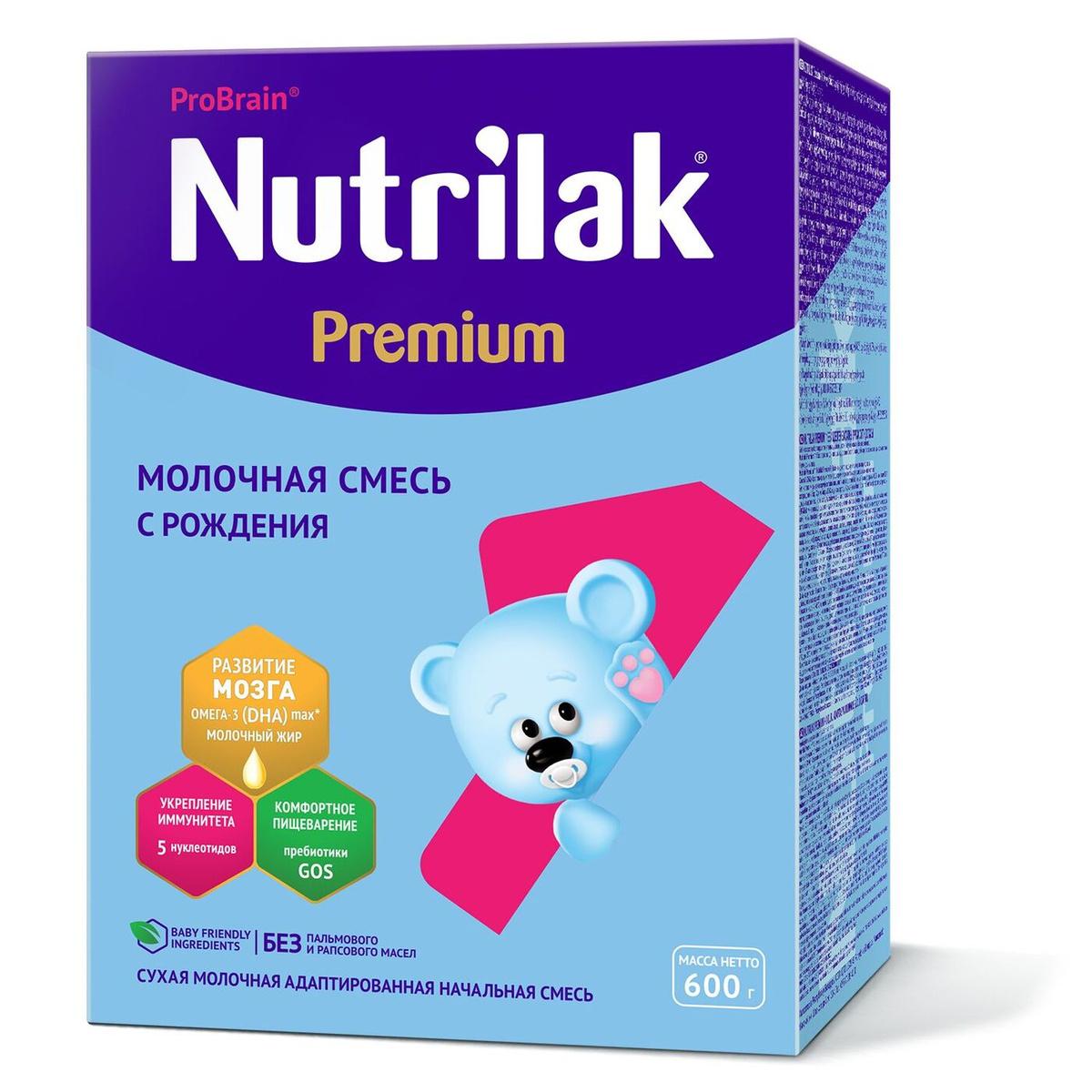 Молочная смесь для новорожденных Nutrilak Premium 1, с рождения, 600 г  #1