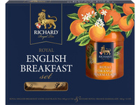 """Чай черный RICHARD """"Royal English Breakfast Set"""" 180 г, цейлонский крупнолистовой + джем апельсиновый  RICHARD """"Royal Orange Marmalade"""" 340 г / подарочная упаковка. Скидки до 75%!"""