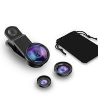Фишай универсальный объектив для смартфона Fisheye рыбий глаз, ширикоугольная и макро линза для телефона. Аксессуары для смартфонов