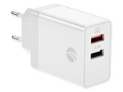 Адаптер для зарядки / Сетевое зарядное устройство USB x 2 VCOM с функцией быстрой зарядки QC 3.0+обычная зарядка 2.4A для смартфона планшета мобильного телефона Android/iOS (CA-M050). Зарядные устройства
