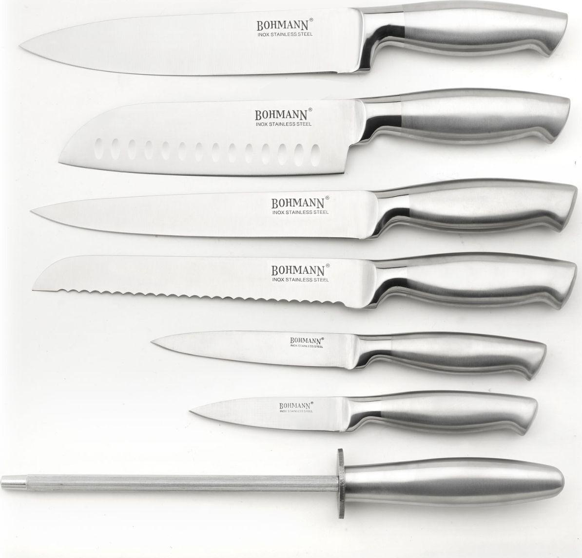 Набор кухонных ножей Bohmann, на подставке, 5041BH, серебристый, 8 предметов