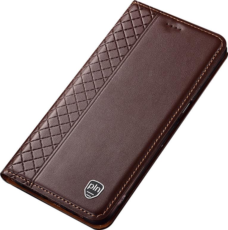 Чехол-книжка MyPads Premium для Honor 9X (STK-LX1)/ Huawei Honor 9X Premium / Honor 9X (Russia) из качественной импортной натуральной кожи с элегантной стеганой прошивкой премиум-класса и магнитной крышкой коричневый