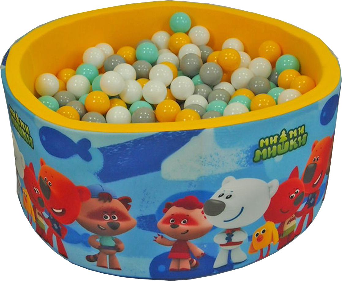 Сухой игровой бассейн МиМиМишки син.рыб. фон Желтый выс. 40см с шар. 200шт: сер, бел, мятн, желт