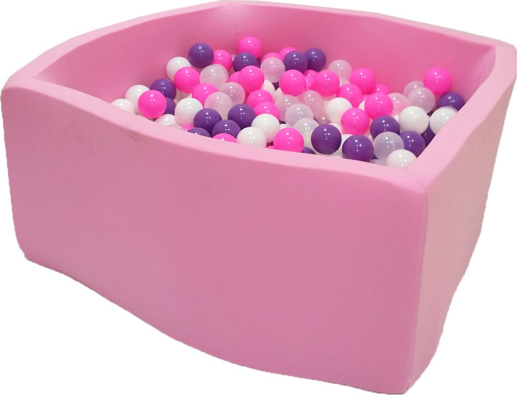 Сухой бассейн Фиолетовые пузыри Квадро выс. h40см с 200 шариками: розовый, белый, фиолетовый, прозрачный