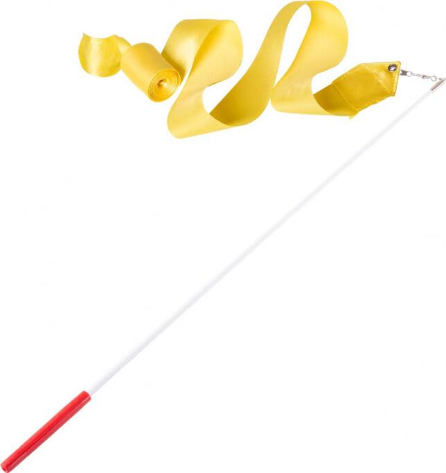 Лента для художественной гимнастики Amely AGR-201 6м, с палочкой 56 см, желтый лента для художественной гимнастики amely agr 201 длина 6 м с палочкой 56 см цвет розовый
