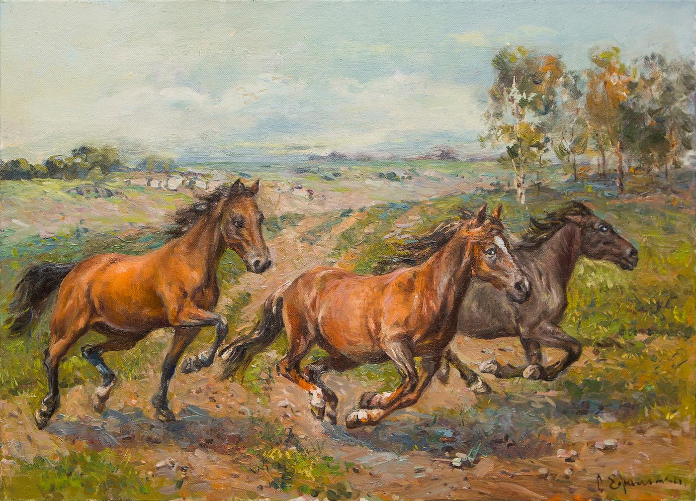 Картина маслом Бегущие лошади Ефименко картина маслом вид на петропавловскую крепость ефименко