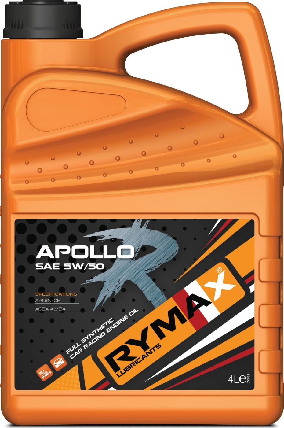 Моторное масло Rymax Apollo R SAE 5W-50, API SN/CF, ACEA A3/B4, спортивное на основе ПАО, 4 л