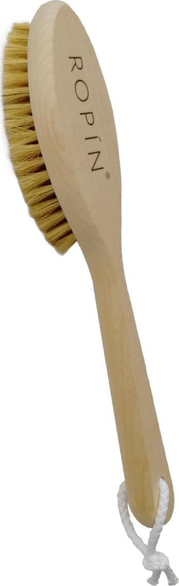 Щётка для сухого массажа из натуральной щетины с ручкой. Средняя жёсткость.