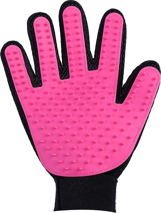 Перчатка для вычесывания шерсти, розовая