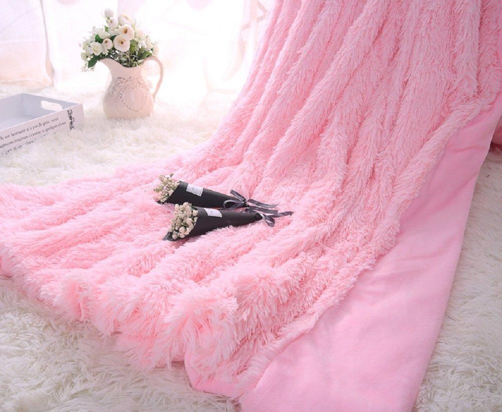 Покрывало Уют-Текстиль 240х220 01-14. Искусственный мех розовый
