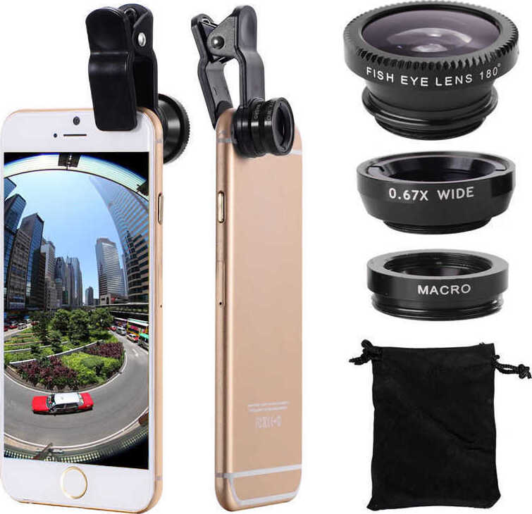Объектив для iPhone и других телефонов Fisheye Macro Wide Black
