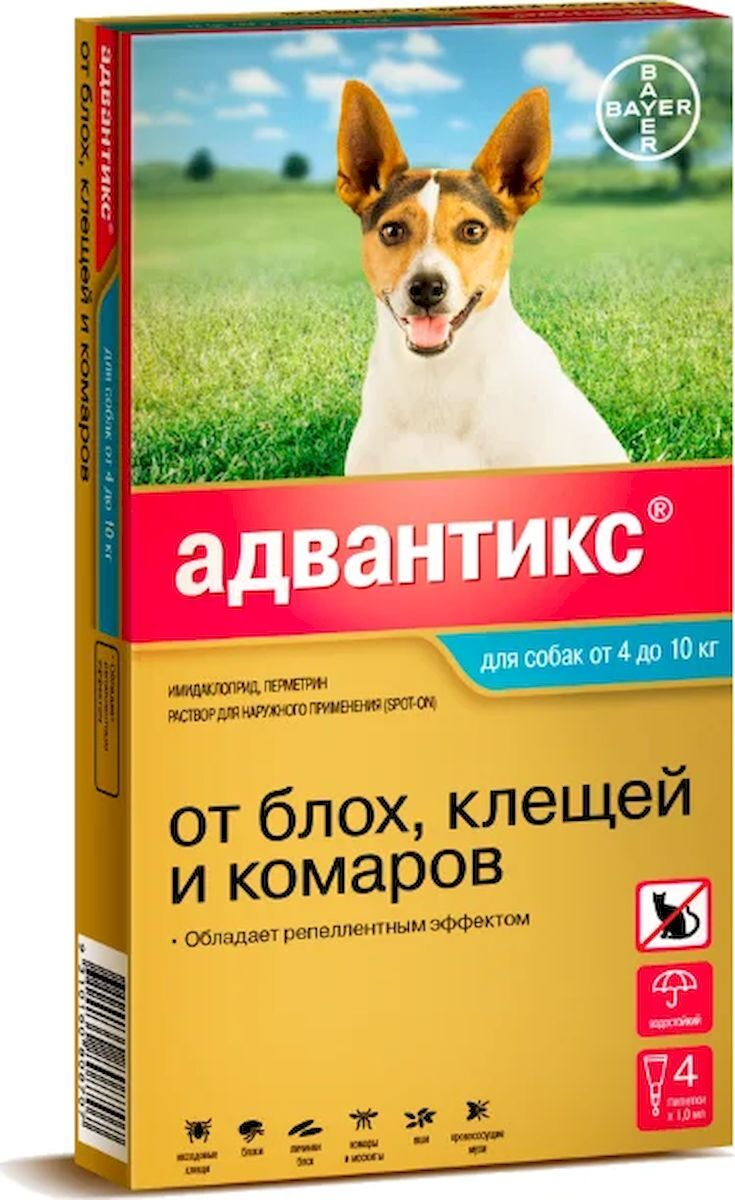Капли для собак Bayer Адвантикс 100С, от 4 до 10 кг Bayer