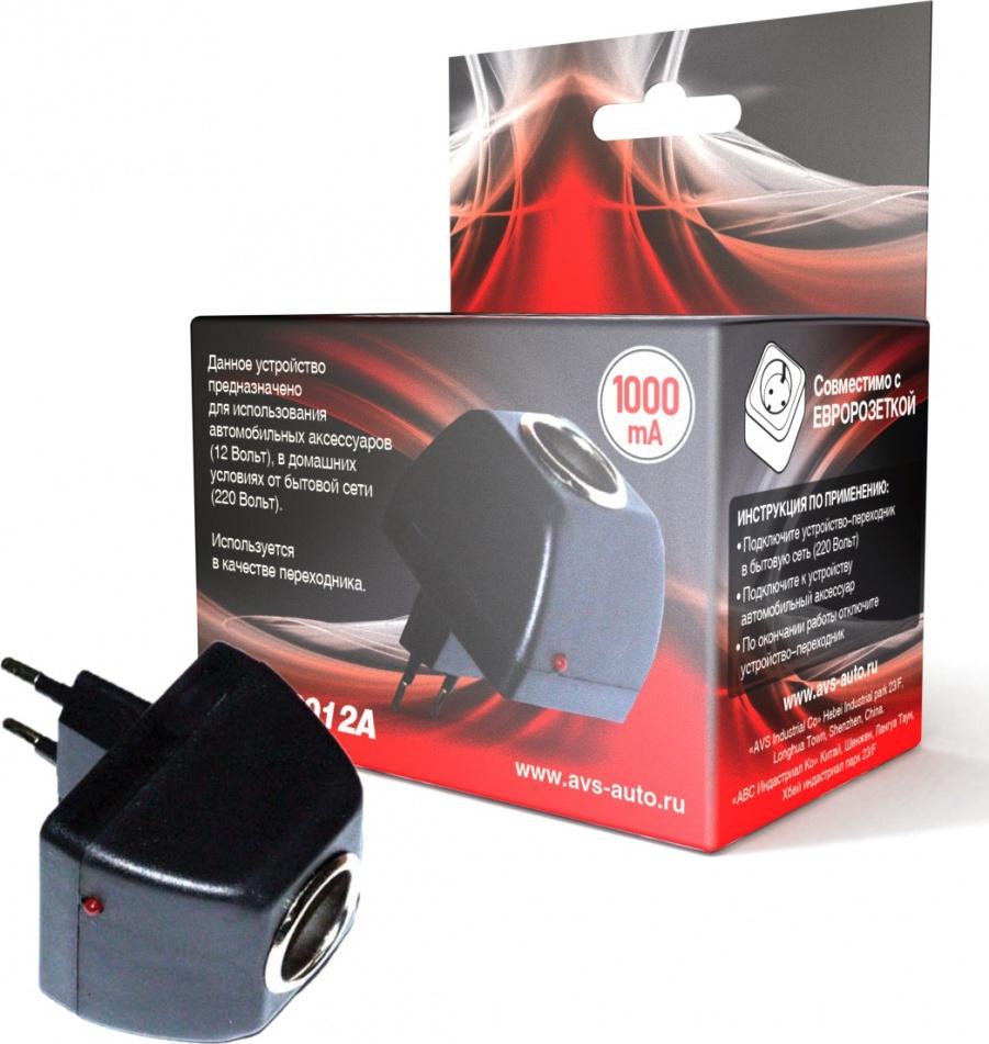 Адаптер сетевой для автоприборов AVS  AD-22012A (220>12В, 1А)