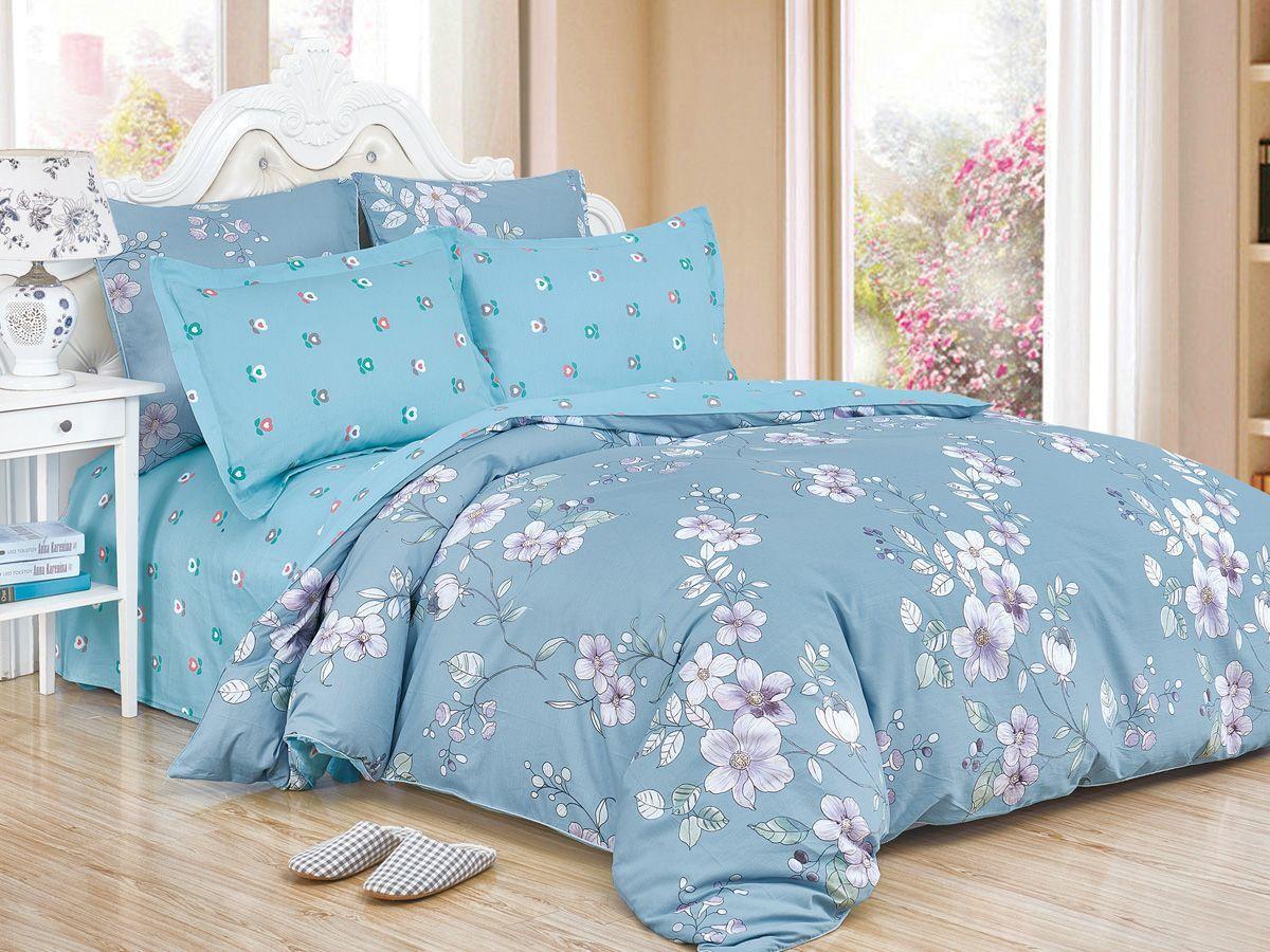 Комплект постельного белья Cleo Satin de' Luxe Элисон, 20/531-SK, голубой, 2-спальный, наволочки 70x70