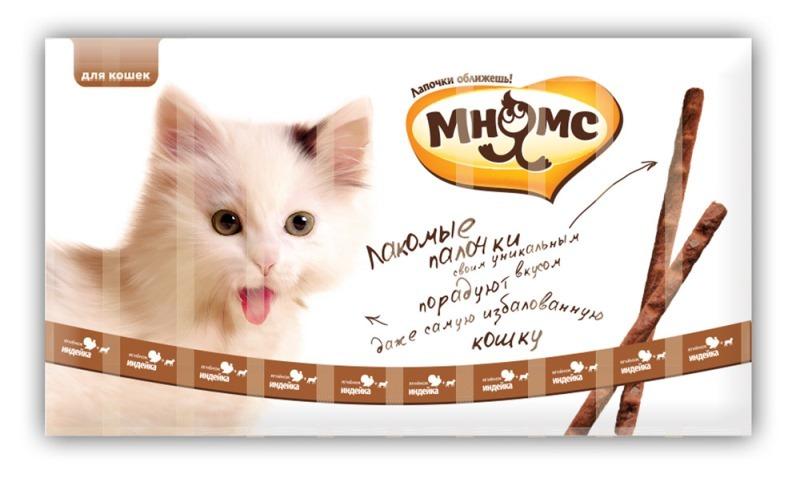 Лакомство для кошек Мнямс лакомые палочки 13,5 см с индейкой и ягненком, 3*5гр
