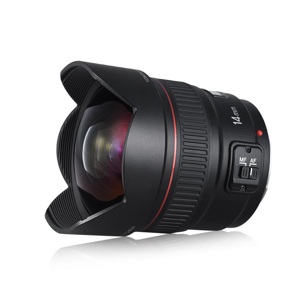 YONGNUO YN14mm F2.8 Сверхширокоугольный объектив с автозапуском Авто / Ручная фокусировка Угол диагонали 114 градусов для зеркальной камеры Canon
