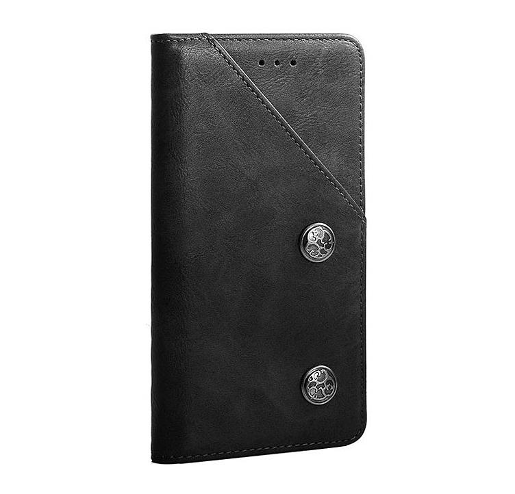 Чехол-книжка MyPads для Samsung Galaxy A71 SM-A715F (2020) креативный крафтовый ретро футляр азиатский стиль ручной работы c декоративными пуговицами и визитницей черный