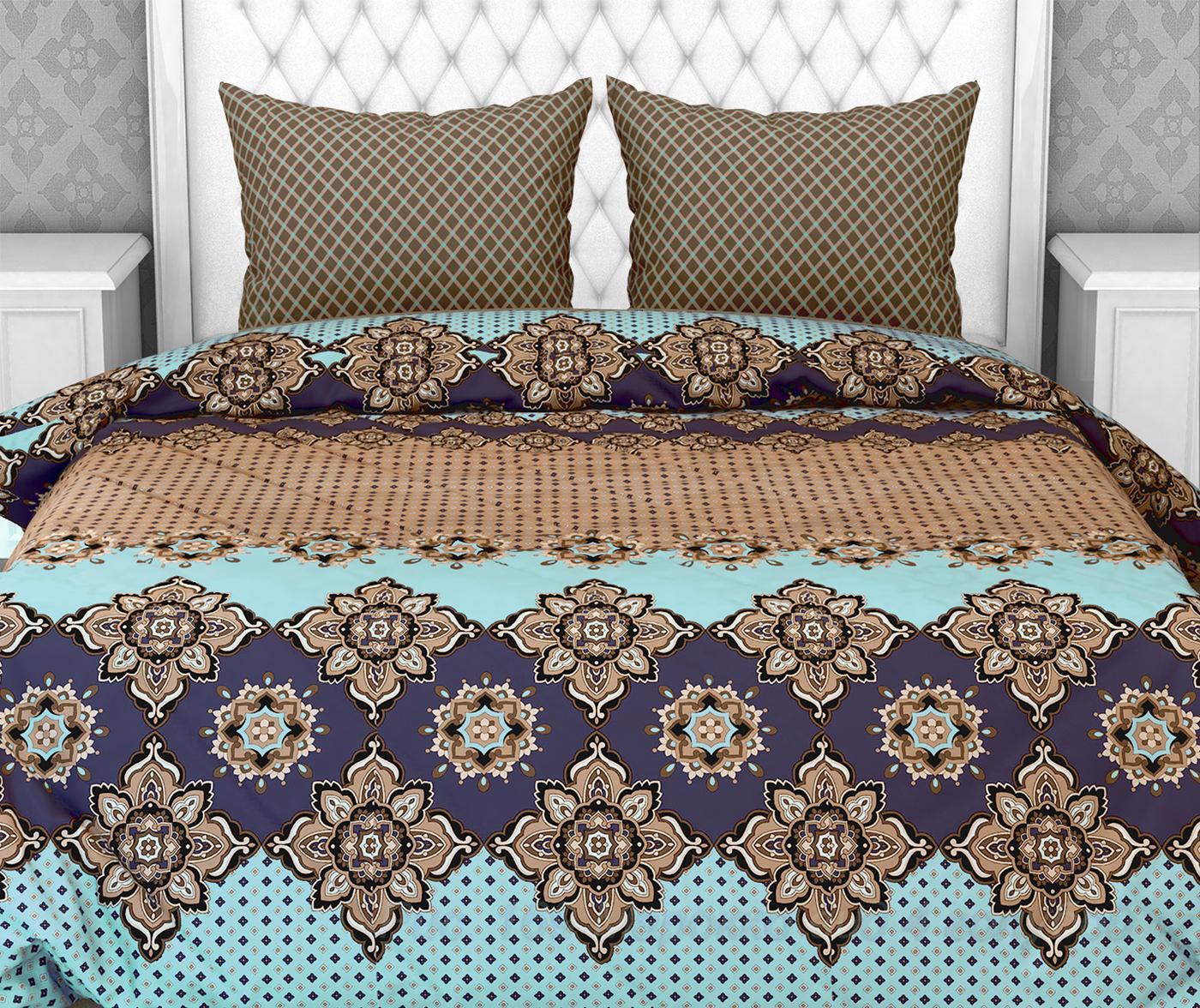 Комплект постельного белья Галтекс Комфорт Компаньон: Марокко бирюзовый / Виши коричневый 2-х спальный, Бязь, наволочки 70x70
