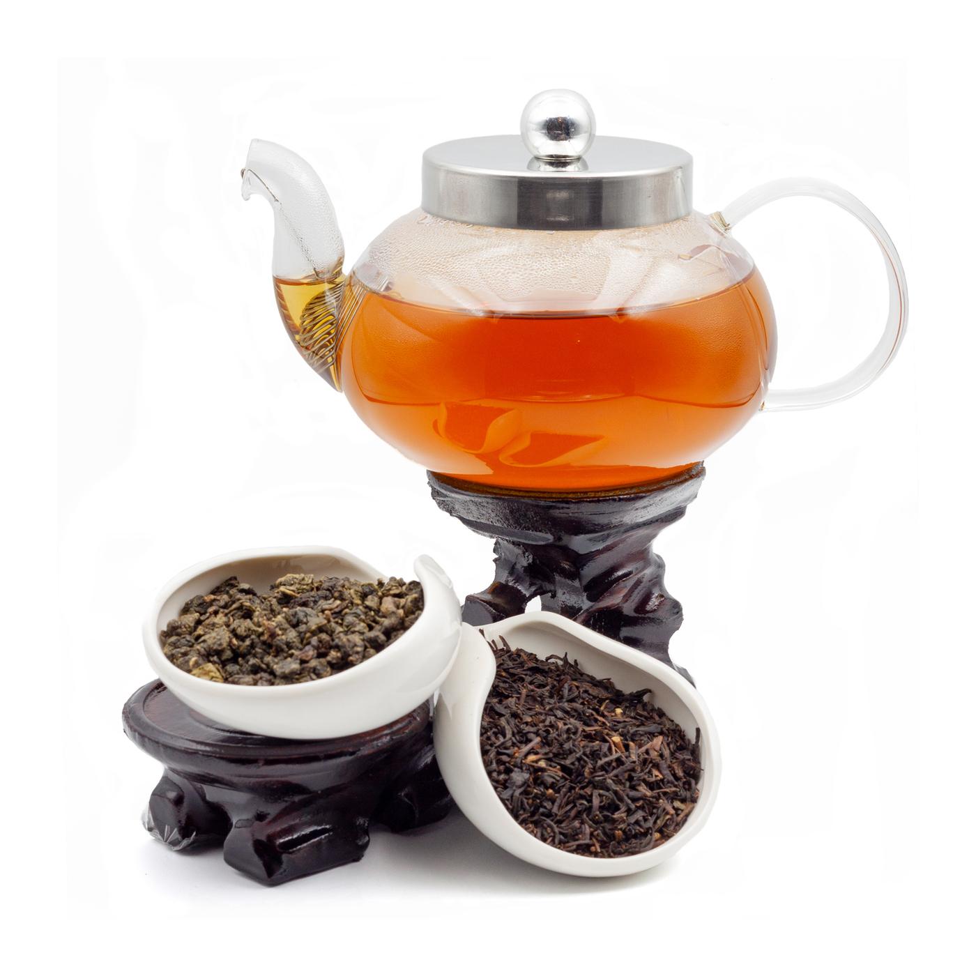 """Подарочный чайный набор """"Джентльмена"""" (стеклянный заварочный чайник """"Вишня"""" 600 мл , Те Гуань Инь кат. C, Исин Хун Ча кат. С), Белая Обезьяна"""