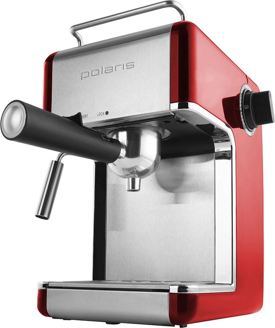 Кофеварка рожковая эспрессо Polaris PCM 4002A, красный #1