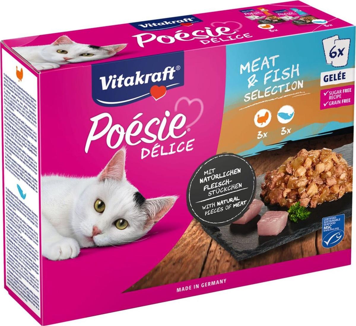 Корм консервированный Vitakraft Poesie, для кошек, индейка, лосось, в желе, 6 шт по 85 г  #1