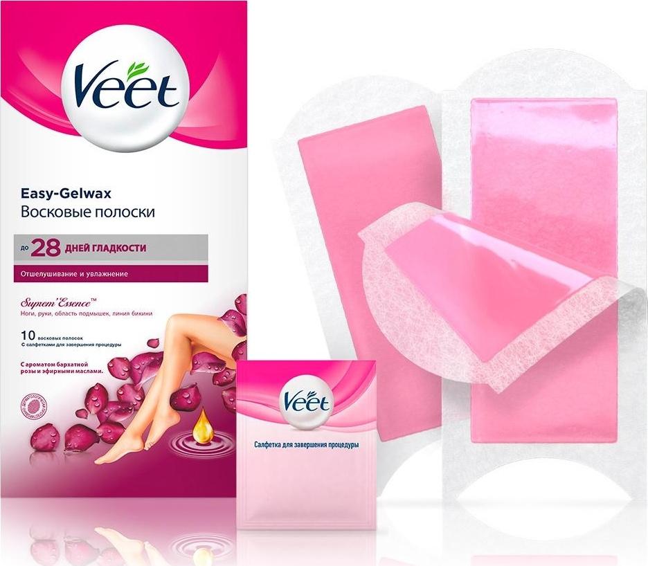 Veet Восковые полоски с ароматом бархатной розы и эфирными маслами Easy Gel-Wax, 10 шт  #1