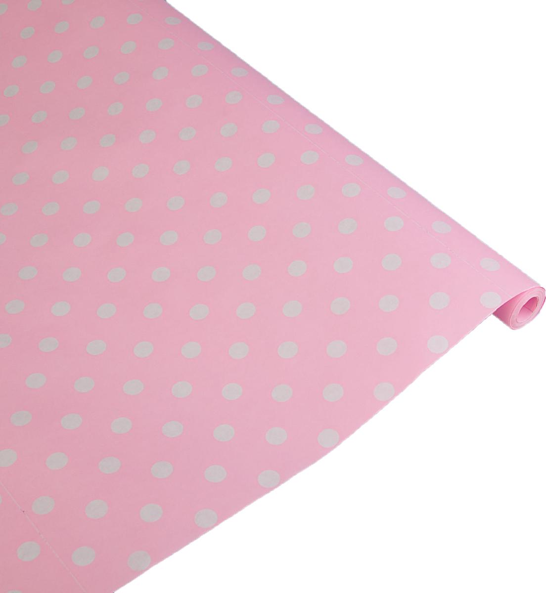 Бумага упаковочная Круги, 2732474, розовый, 70 см х 10 м