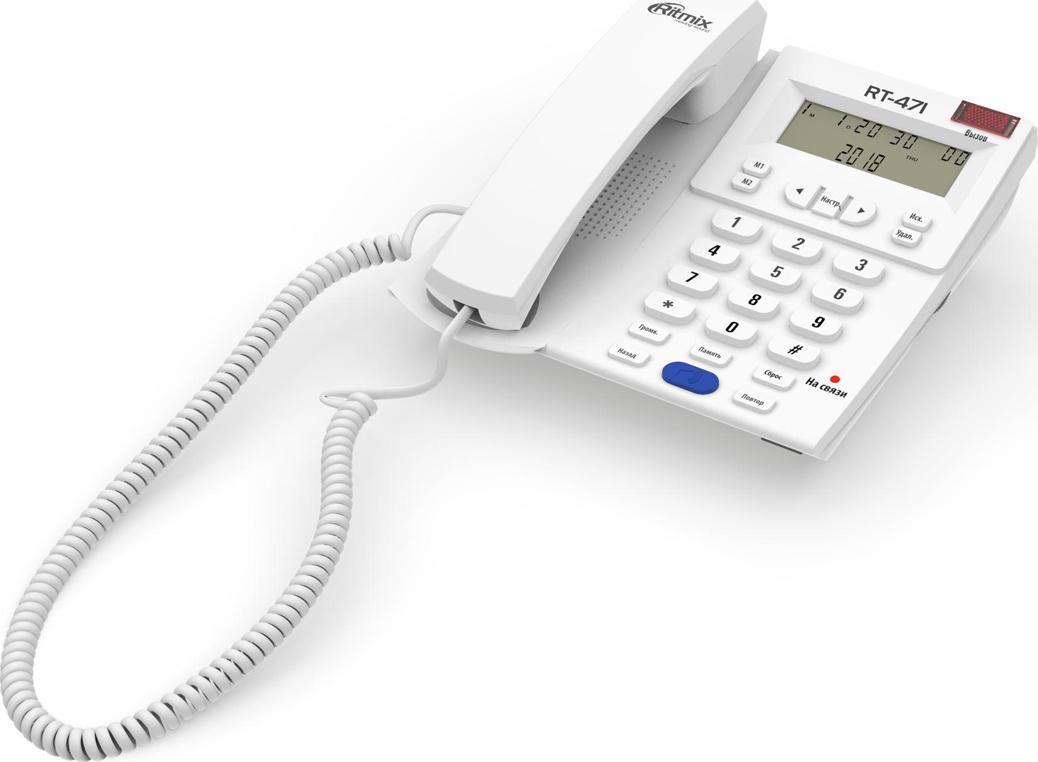 Телефон Ritmix RT-471, белый телефон ritmix rt 520