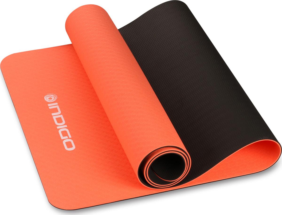 Коврик для йоги и фитнеса Indigo IN106, коралловый, черный, 173 х 61 х 0,5 см