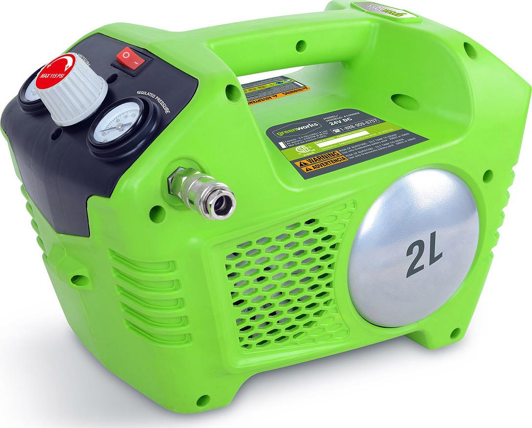 Компрессор аккумуляторный Greenworks G24AC 24V без АКБ и ЗУ вы lite шт воздушный манометр прецизионный значительное число yd 6026a