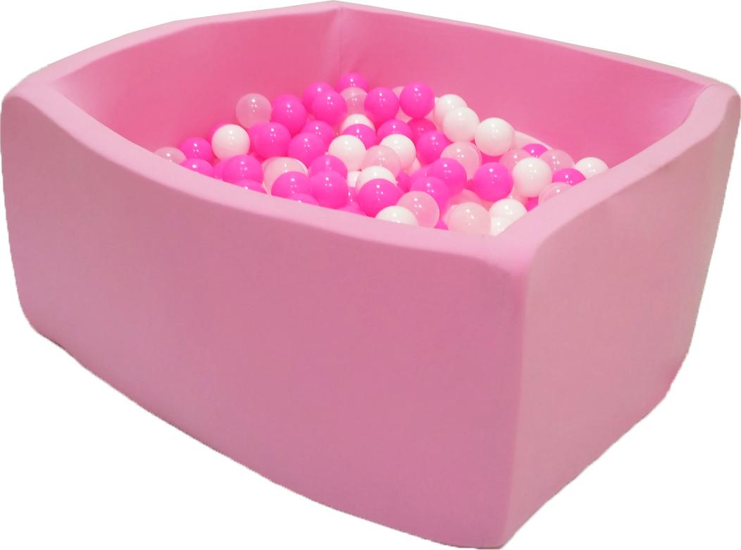 Сухой бассейн Сияние Квадро розовый выс. h40см с 200 шариками: роз.100, бел., прозр. домик bony в комплекте с шариками арка 92 92 90 100 шаров