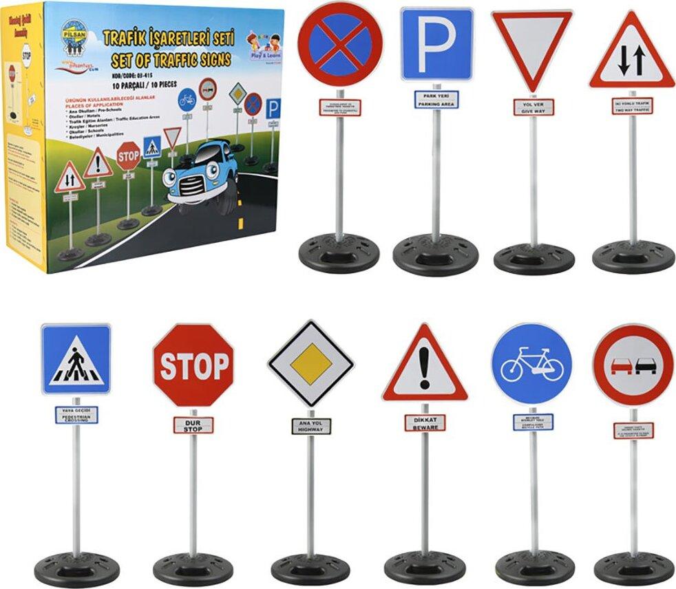Набор дорожных знаков из 10 шт. Pilsan Traffic Sings набор знаков дорожных работ bruder с фигуркой рабочего 62 000