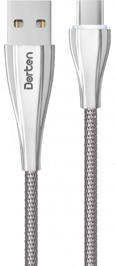 Кабель Dorten USB-C to USB Armor Series 1m, серебряный