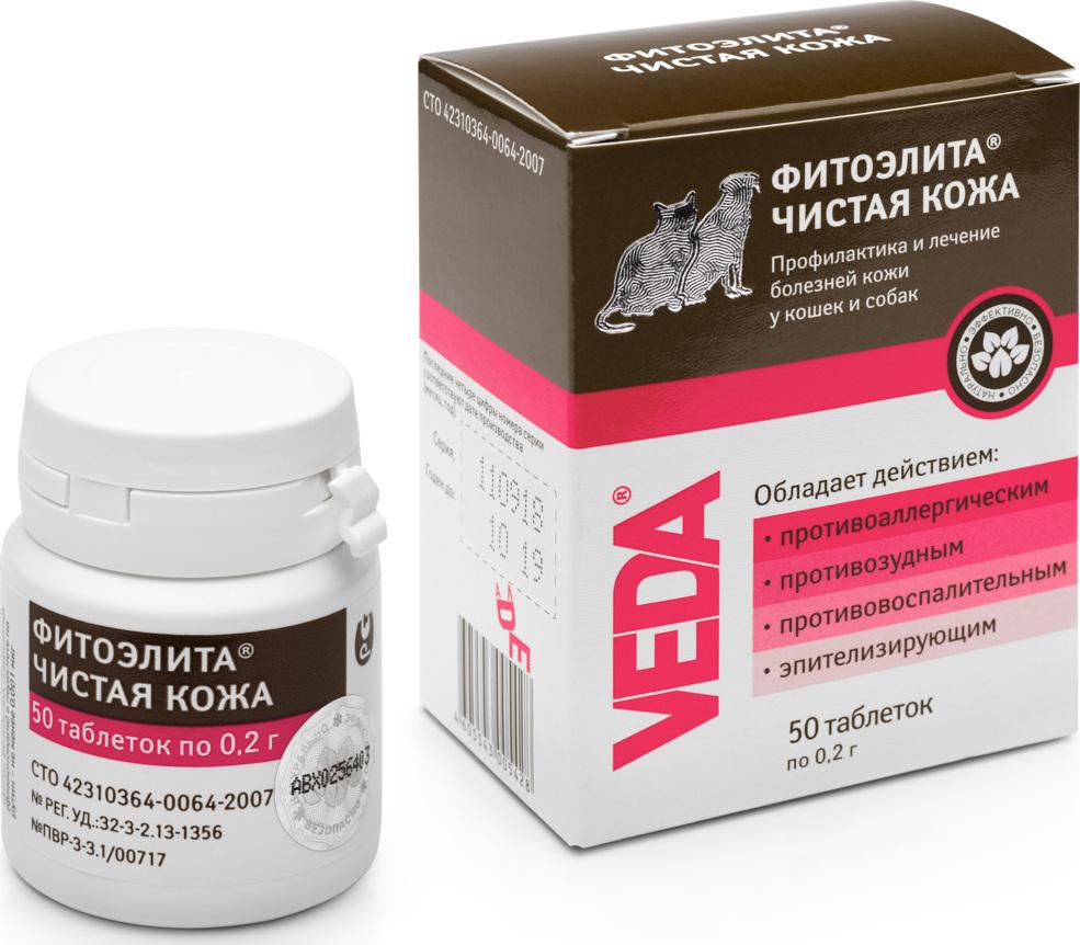 Таблетки для кошек и собак ФитоЭлита Чистая кожа, 50х0,2 г