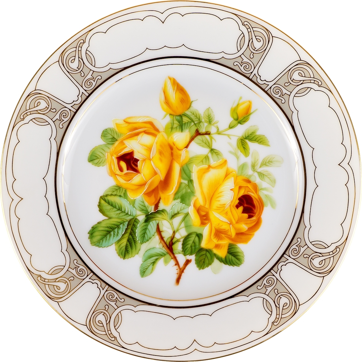 Декоративная тарелка Роза - королева цветов. Фарфор, деколь, золочение. Limoges, Франция, 1990 год декоративная тарелка ketsuzan kiln гейша и журавли декоративная тарелка фарфор деколь япония 1990 год
