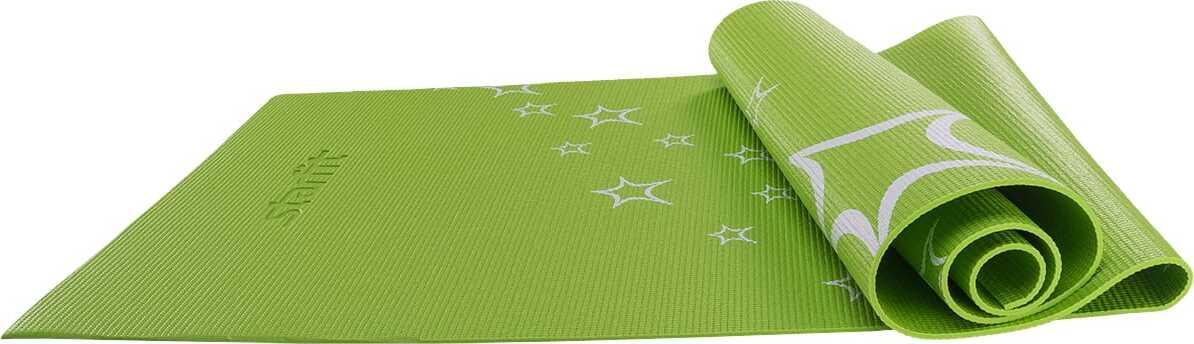 Коврик для йоги Starfit FM-102, PVC, 173x61x0,4 см, с рисунком, зеленый