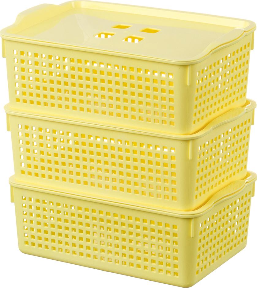 "Корзинка с крышкой 3,8 л 29,5х18,5х10,5 см EL Casa ""Лофт"" лимон (3 шт.)"