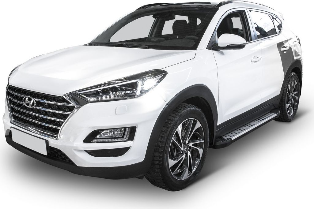 "Пороги алюминиевые ""Bmw-Style круги"" Rival для Hyundai Tucson III 2015-2018 2018-н.в./Kia Sportage IV 2016-2018 2018-н.в., 173 см, 2 шт. D173AL.2309.2"