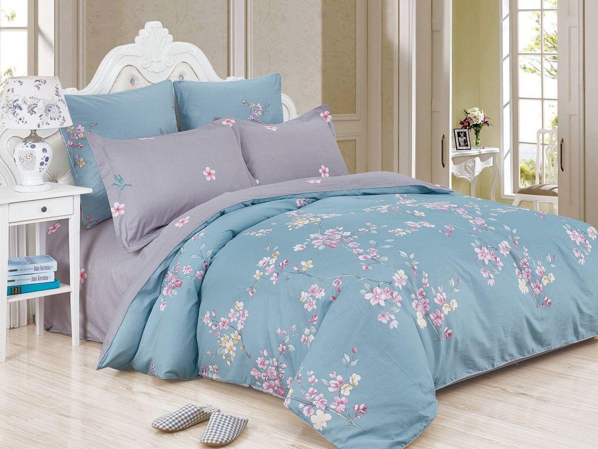 Комплект постельного белья Cleo Satin de' Luxe Вайлет, 20/532-SK, голубой, серый, 2-спальный, наволочки 70x70