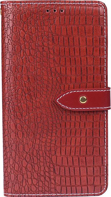 Чехол-книжка MyPads для Oppo A9 (2020)/ OPPO A5 2020 с фактурной прошивкой рельефа кожи крокодила с застежкой и визитницей красный