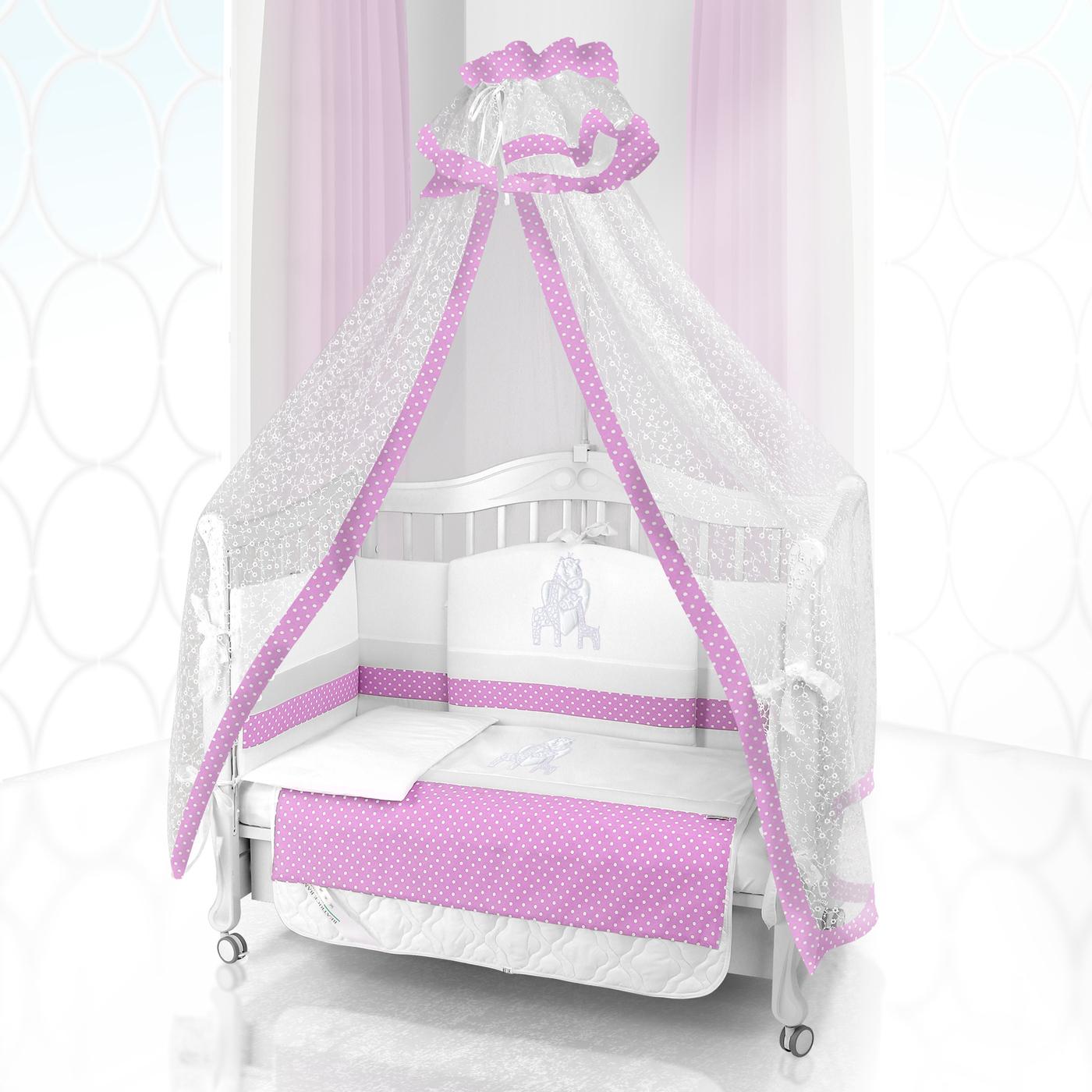 Комплект постельного белья Beatrice Bambini Unico Punto Di Giraffa (125х65) - bianco& rosa