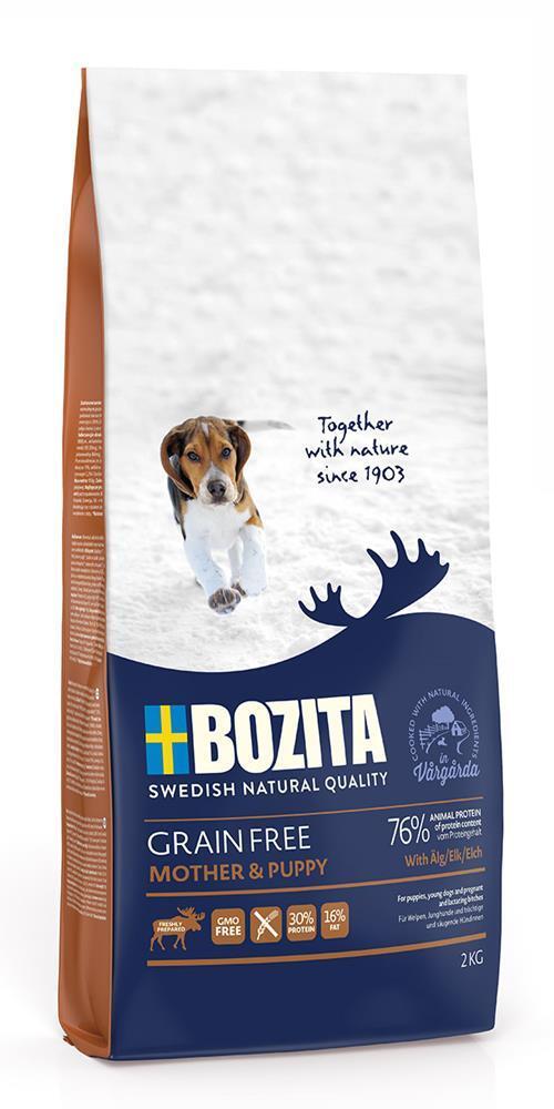 Сухой корм для щенков и юниоров всех пород, беременных и кормящих сук Bozita Grain Free Mother & Puppy, Elk 30/16 Беззерновое питание, с мясом лося, 2 кг