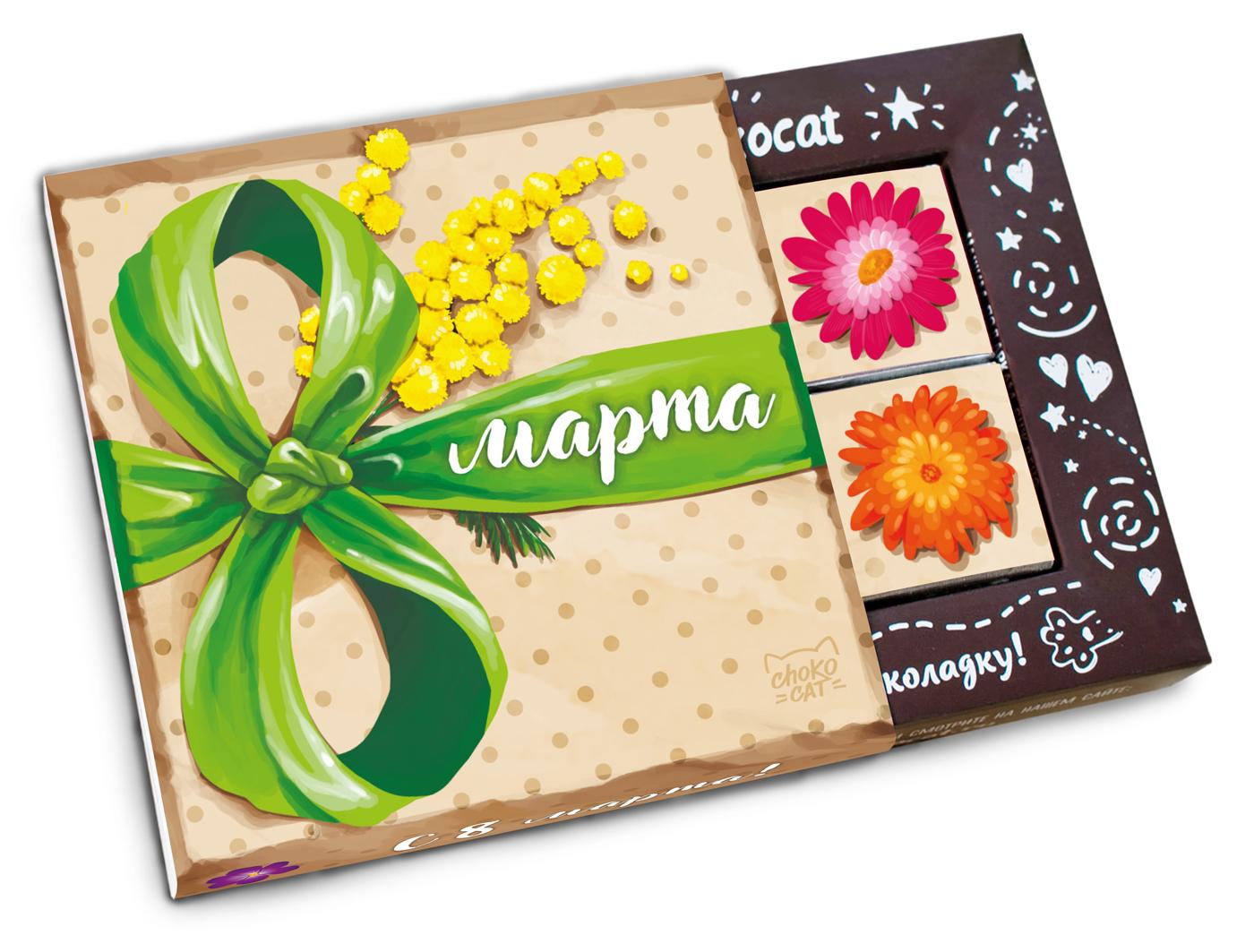 Открытка из конфет на 8 марта